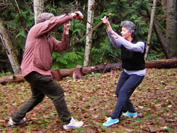 Jan Parker in 2 person Tai Chi sword